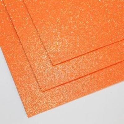 Фоамиран глиттерный 60х70 см толщина 1,5 мм МЕРЦАЮЩИЙ   (Оранжевый)