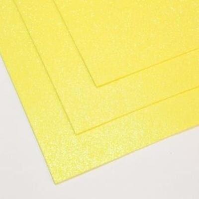 Фоамиран глиттерный 60х70 см толщина 1,5 мм МЕРЦАЮЩИЙ   (Лимонный)