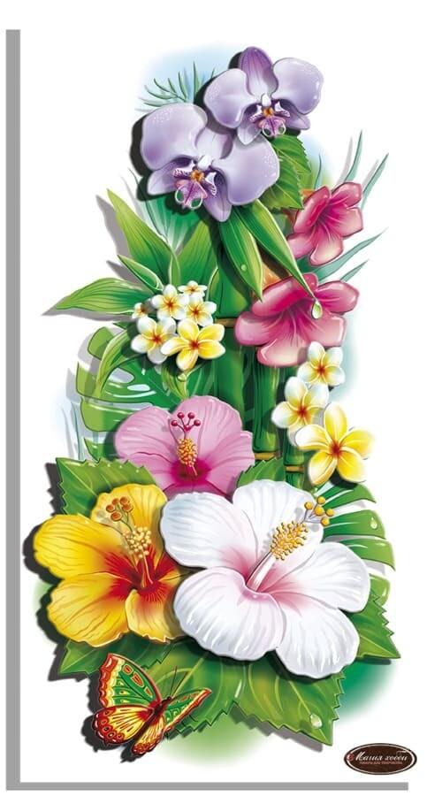 """Папертоль РТ150317 """"Тропические цветы-1"""" 20*38 см."""