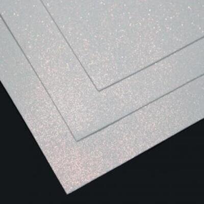 Фоамиран глиттерный 60х70 см толщина 1,5 мм МЕРЦАЮЩИЙ   (Белый с золотым блеском)