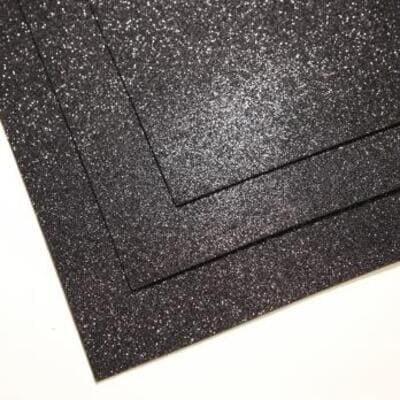 Фоамиран глиттерный 60х70 см толщина 1,5 мм (Черный)