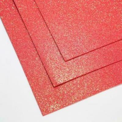 Фоамиран глиттерный 60х70 см толщина 1,5 мм МЕРЦАЮЩИЙ  (Красный)