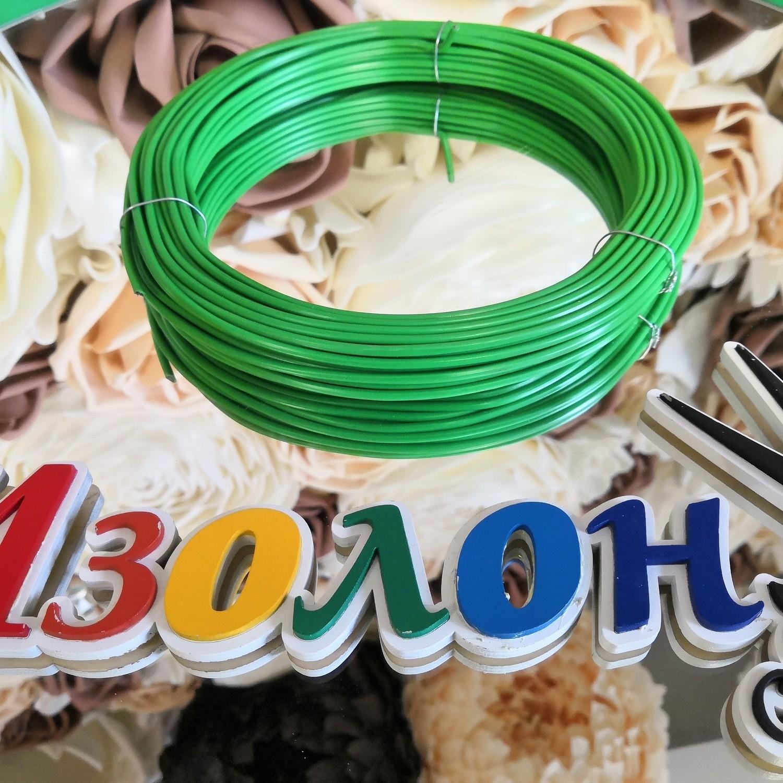 Проволока стальная в ПВХ (зелёный) 25 м , внутр. 1,6 мм / внеш. 3,0 мм/