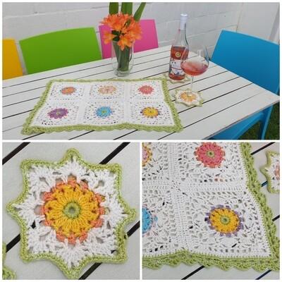 Al Fresco Centerpiece  & Coaster Crochet Set