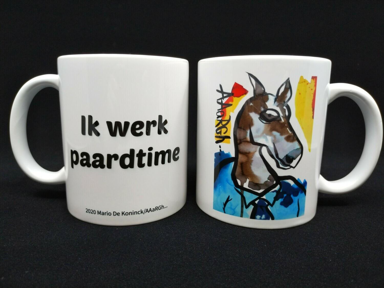"""CEhOrse met tekstopdruk """"Ik werk paardtime"""" - AAaRGh Art Collectie"""