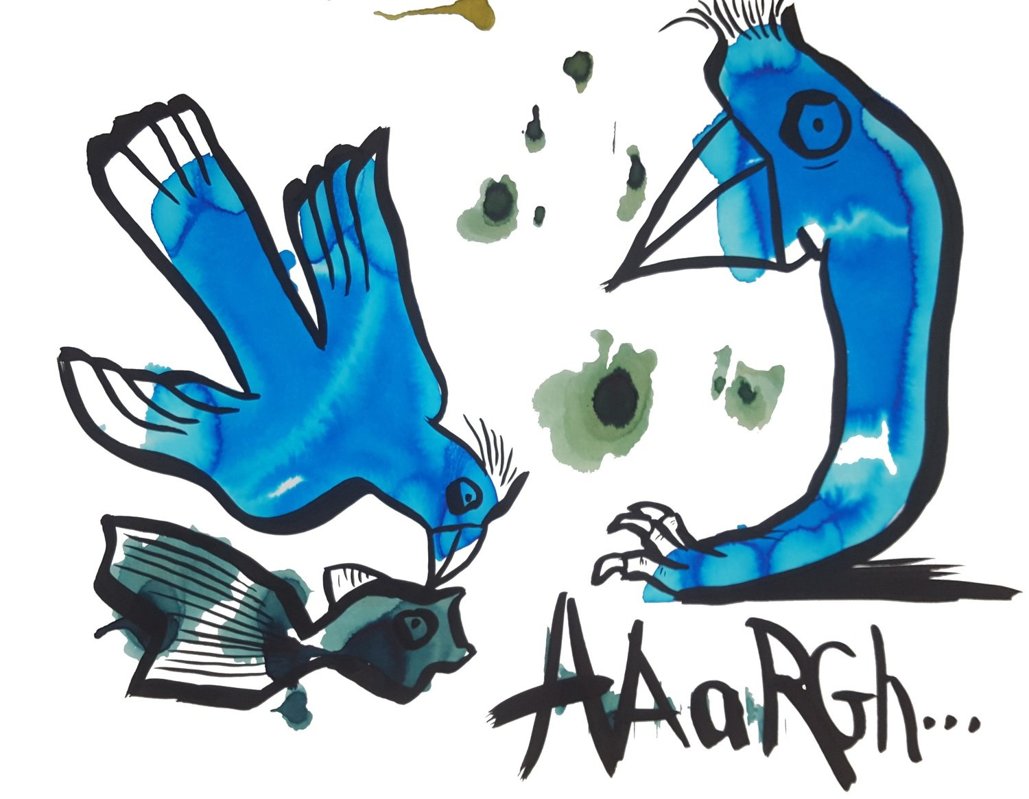 Two blue birds and a scared fish