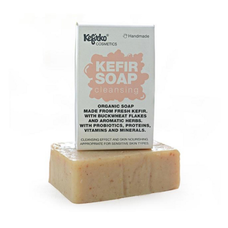 Kefirko Handmade Organic Kefir soap - Cleansing / Buckwheat flakes and aromatic herbs