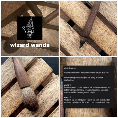 The Skin Wizard - wizard wands - 2 x handmade walnut cosmetic brush duo set
