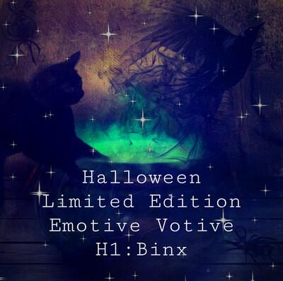 The Skin Wizard Emotive Votive Black Wax Halloween Limited Edition H1✨Binx