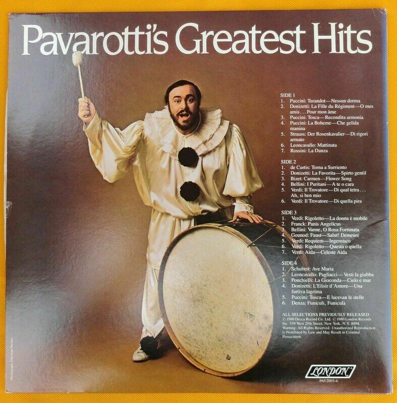 PAVAROTTI'S GREATEST HITS - 2 VINYL LP'S