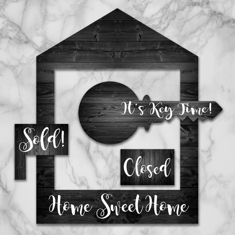Dark Gray Wooden House Frame & Key Prop Set