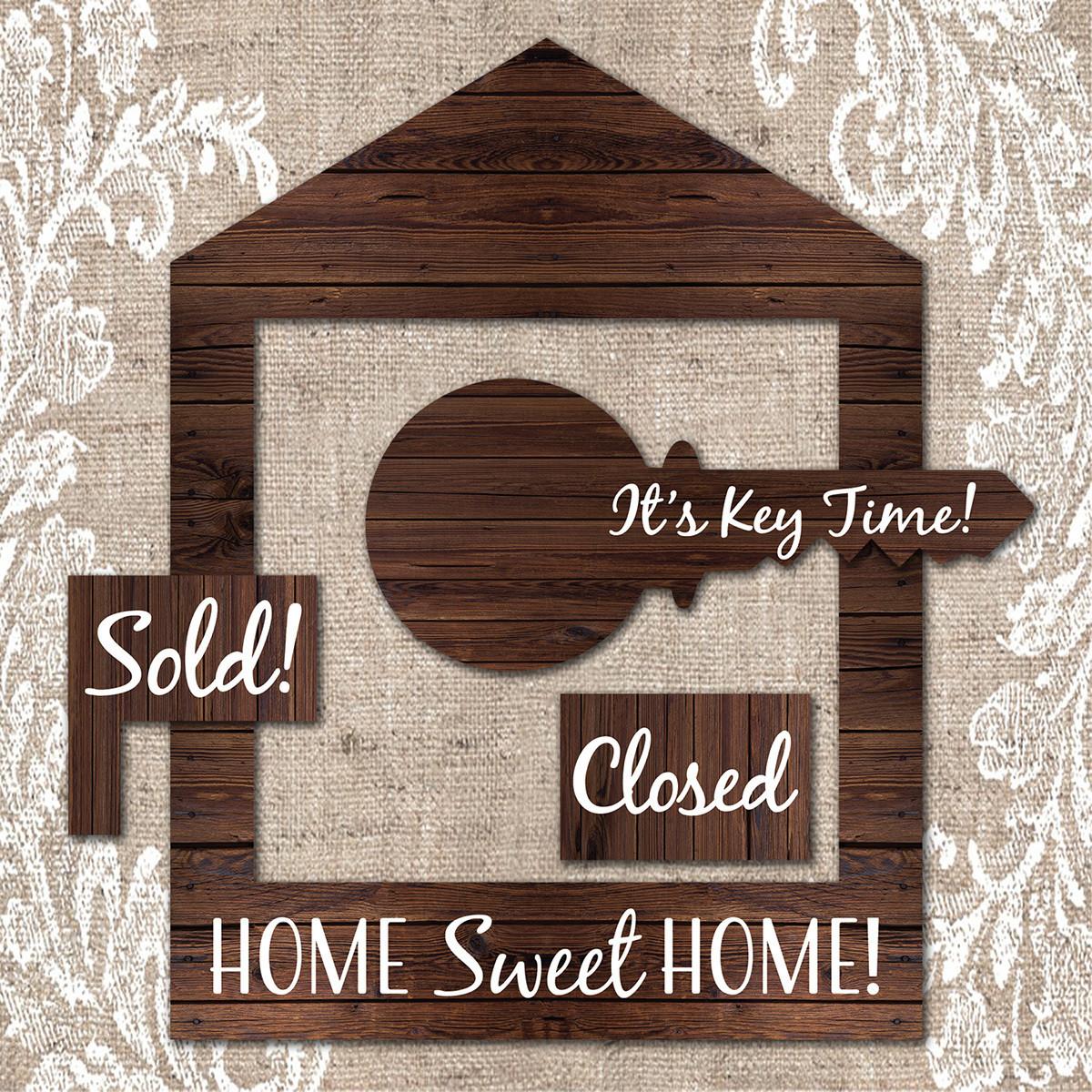Dark Brown Wooden House Frame & Key Prop Set