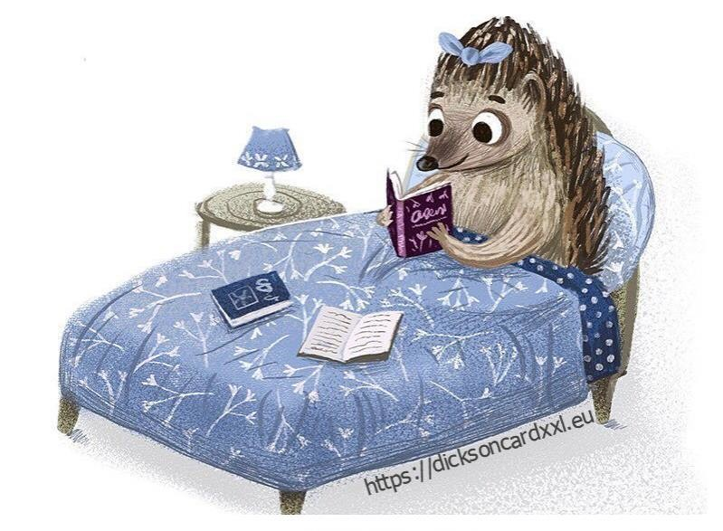 Hedgehog on the bed reading a book
