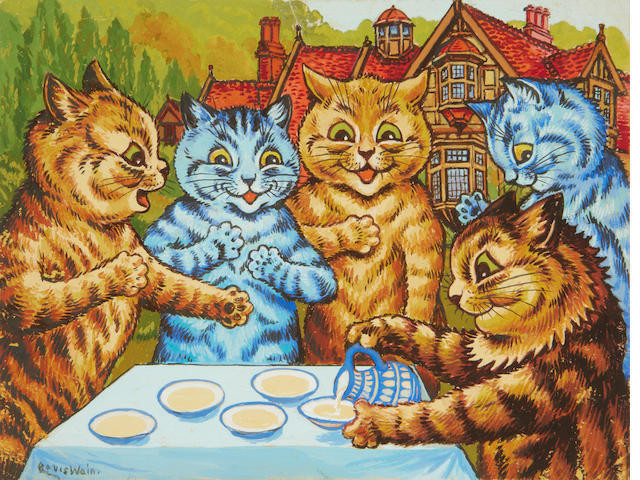 Five cats at the table from Louis Wain