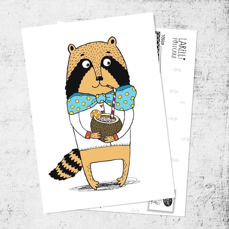"Postcard ""Raccoon and colada"""