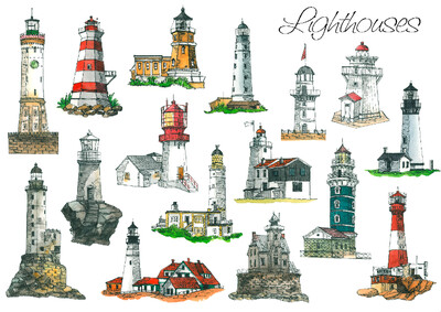 Postcard Llighthouses from A.Moreva