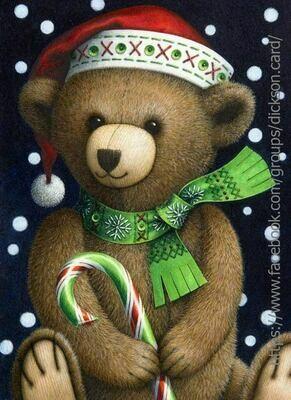 Beautiful Christmas Story by Lynn Bywaters. Плюшевый мишка в новогодней шапке