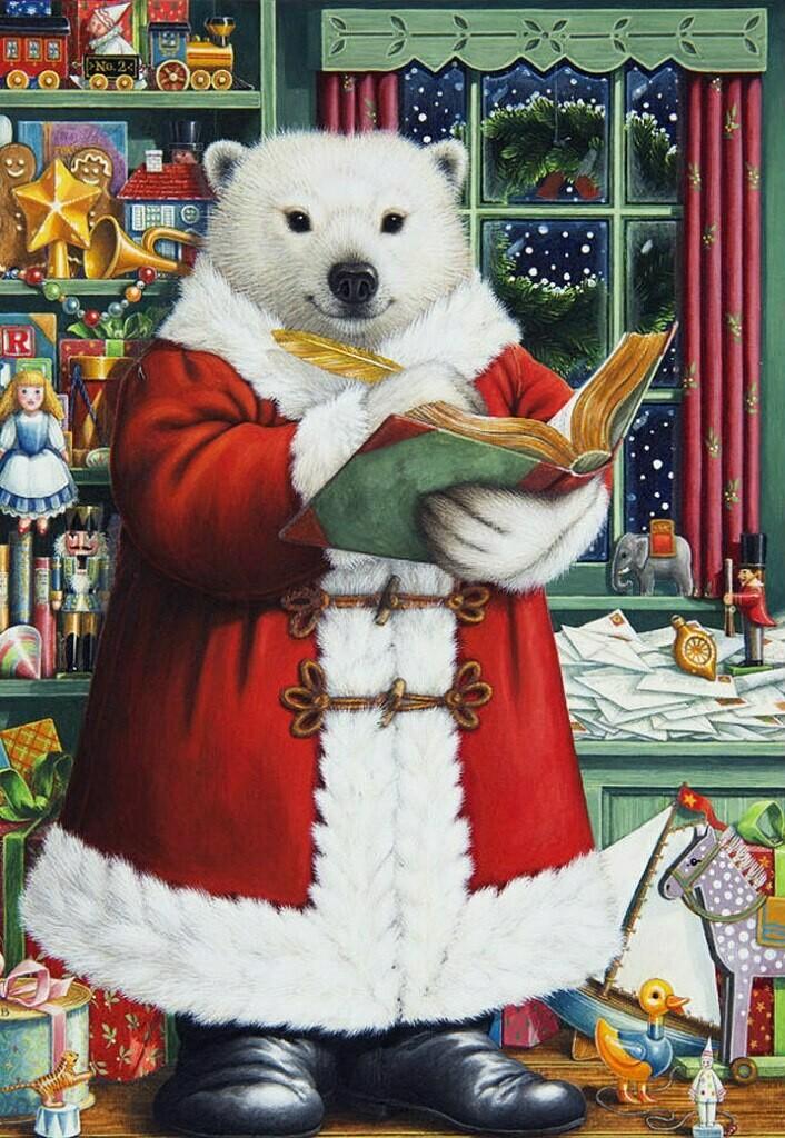 Polar bear in a red coat