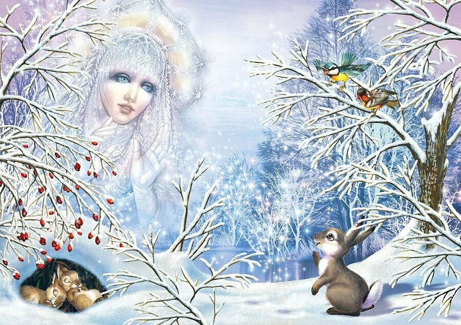 Snow queen and rabbit