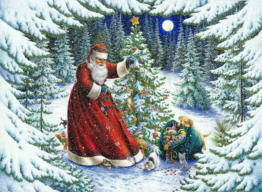 Santa Claus in a snowy forest near the Christmas tree. Дед Мороз в заснеженном лесу у елки