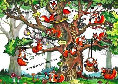 Squirrels on a tree. Белки на дереве