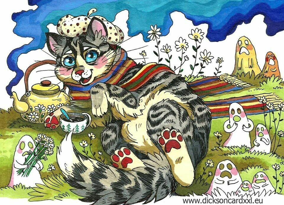 Cat on the lawn, Кот на лужайке