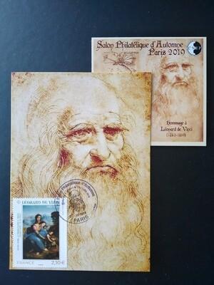 Maximum cards Leonardo de Vinci 1452 - 1519 Sainte Anne, la Vierge Marie et Jésus jouant avec un agneau
