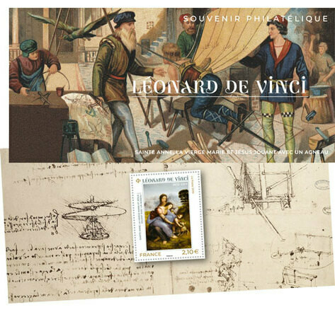 Souvenir Philatélique Leonard de Vinci (2019) Leonard de Vinci Philatelic Souvenir (2019) Леонардo де Винчи Филателистический сувенир (2019)