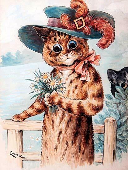 Postcard cat in hat Почтовая карточка кот в шляпе