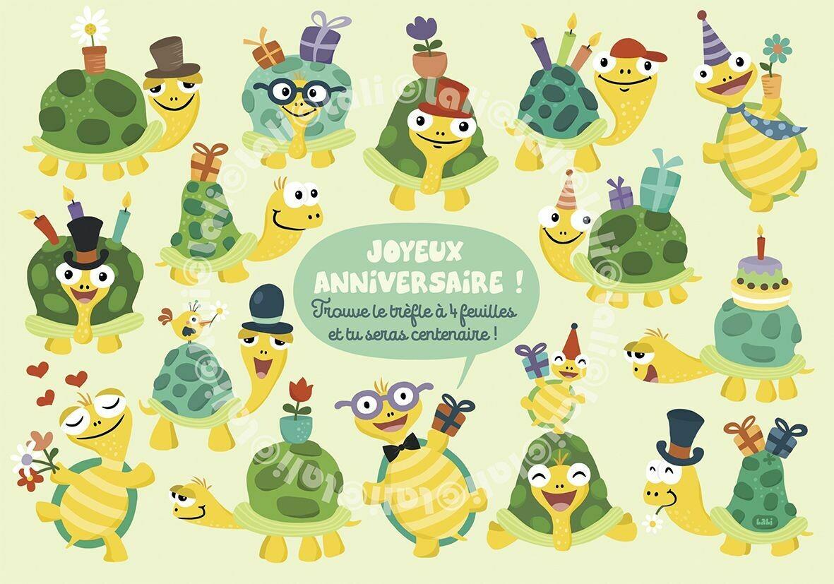 """Carte Lali """"Joyeux anniversaire!Trouve le brefle a 4 feuilles et tu seras centenaire!"""