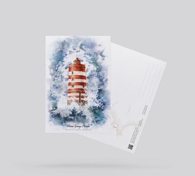 Postcard Lighthouse Grande Lejeune, France. Открытка Маяк Гранд-Лежон, Франция