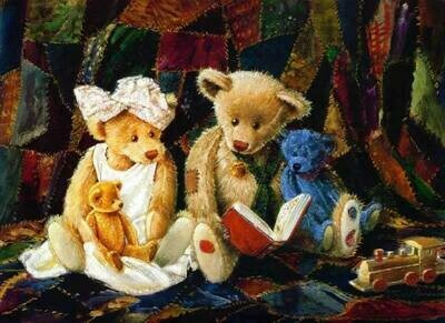 Teddy bears read before bed Плюшевые мишки читают перед сном
