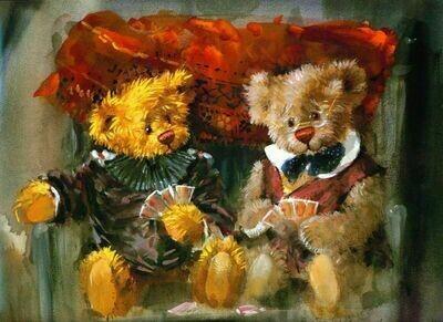 Teddy bears playing cards Плюшевые мишки играют в карты