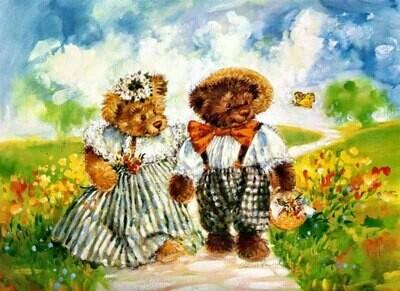 Teddy bears in the field Плюшевые мишки в поле