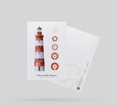 Postcard Lighthouse on Heinyalusto island, Russia Открытка Маяк на острове Хейнялусто, Россия