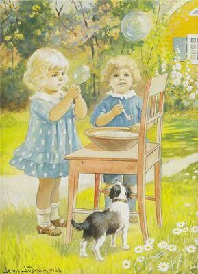 Children blow bubbles postcard Дети пускают мыльные пузыри