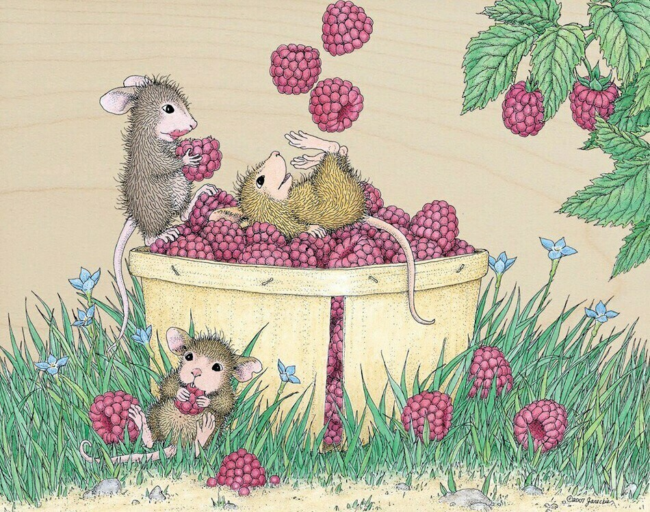 In a basket with raspberries В корзине с малиной