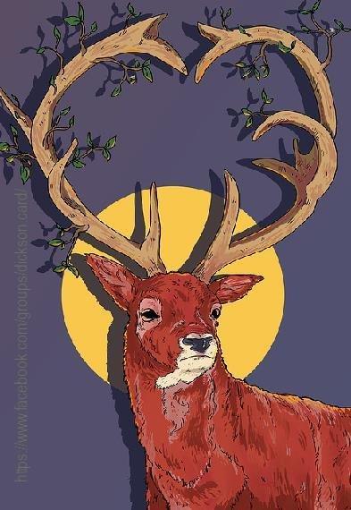 Deer under the moon.