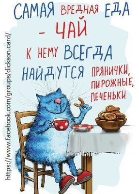 ​Blue cat drinking tea