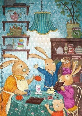 Rabbits drink tea with chocolate.
