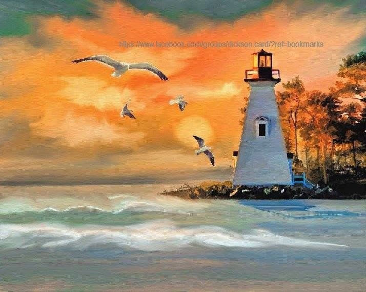 Lighthouse drawn in yellow - orange color​