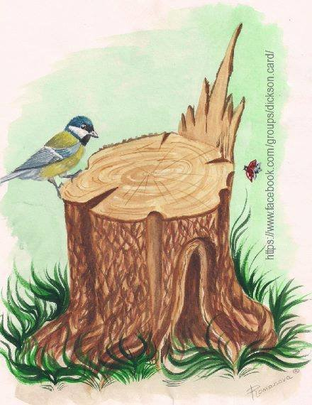 Bird on stub by © Victoria Romanova