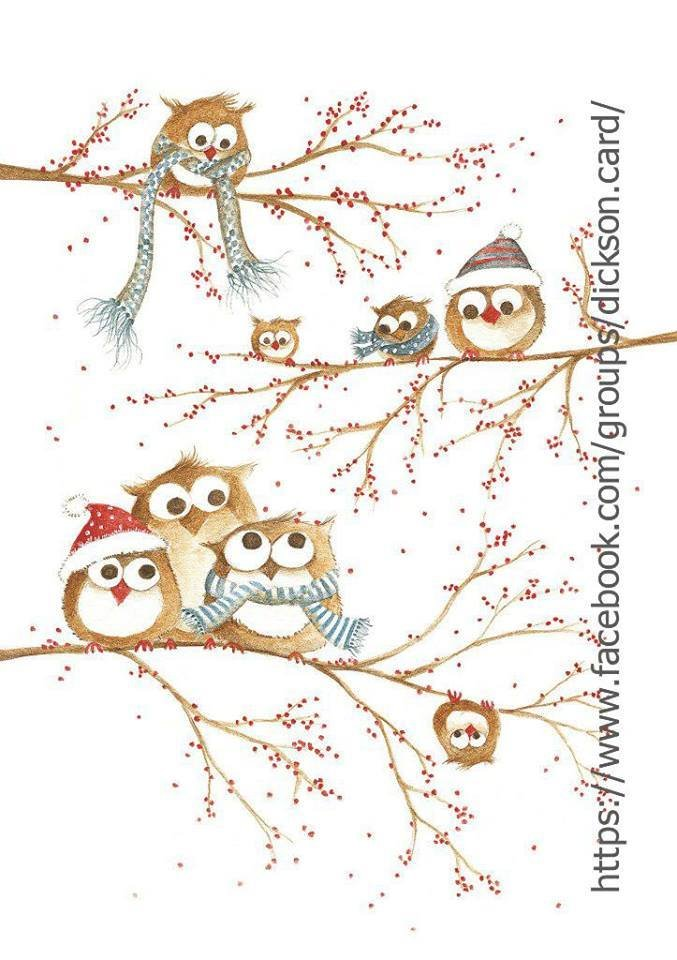 Postcard Christmas owls on the branches