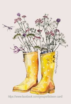 Flowers in yellow boots