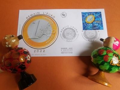 First day cover. Demain l'Euro. КПД Франция