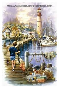 The boy goes fishing at the lighthouse