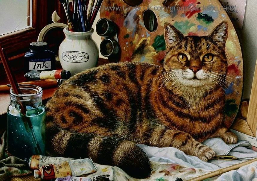 Cat with paints by © Geoffrey Tristram