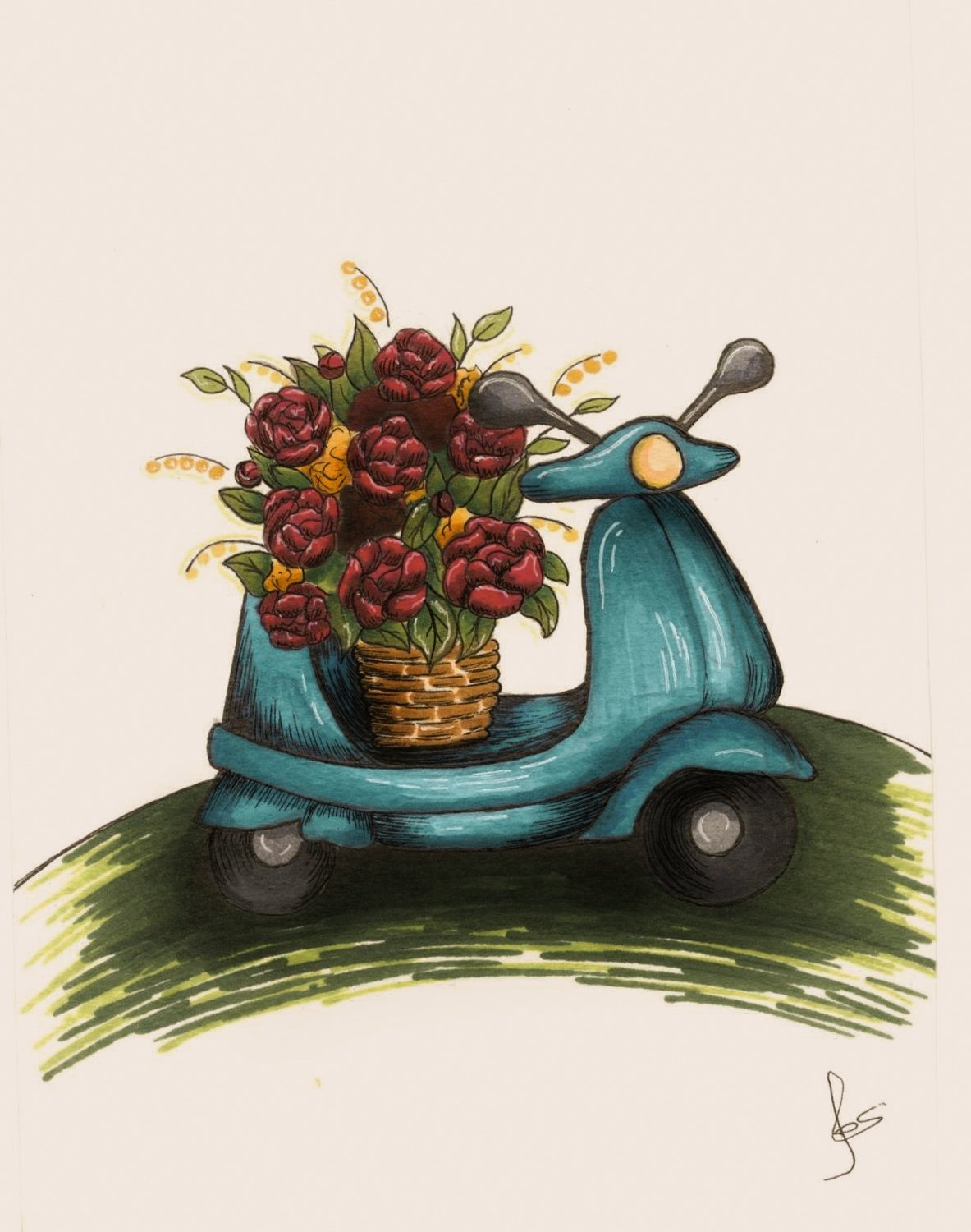 Flowers on a moped