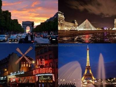 Paris at night, collage