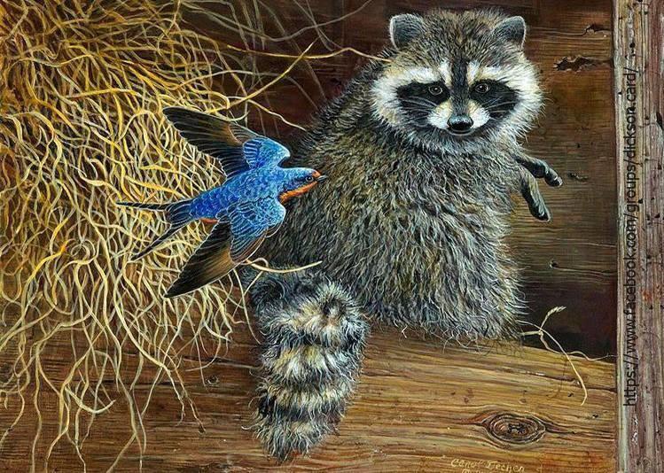 🦡 Raccoon with a bird